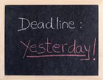 yesterday deadline written on blackboard