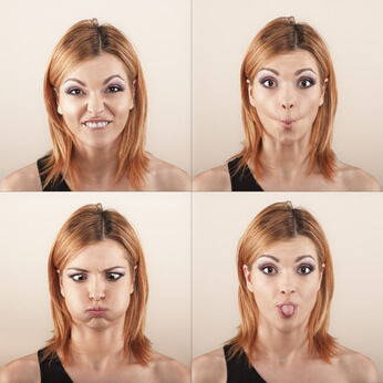 Young woman with four face expression